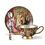 Panbado Kaffee Set aus Fine Bone China Porzellan, mit 200 ml Kaffeetasse, Unterteller und Kaffeelöffel