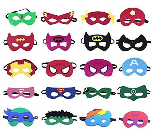 Uteruik Superhelden-Masken, Superhelden-Partymasken, Party-Geschenke, Halbmasken für Kinder ab 3 Jahren, 20 ()