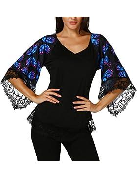 ❤️ Blusa Mujer 2018, Elegante camiseta de manga raglán con mariposa y blusa con borde de encaje ABsolute