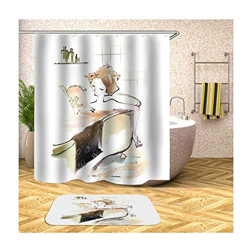 Epinki Duschvorhang & Badezimmerteppich Set Waschbar aus Polyester 3D Digitaldruck Mädchen Baden Muster Badewanne Vorhang Bad Teppich Bunt mit 12 Duschvorhangringen für Badezimmer - 150x180CM - Haut Magnetische Geld Clip
