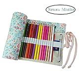 Demarkt Astuccio in tela portamatite cassa di matita rotolo fino a sacchetto portapenne per studenti cancelleria stoccaggio borsa (36 Fori)