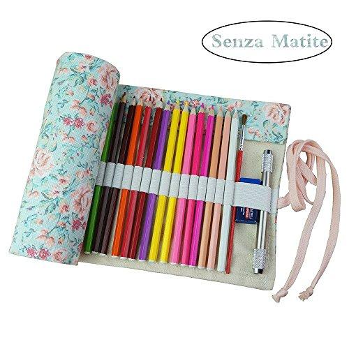 Demarkt Astuccio in tela portamatite cassa di matita rotolo fino a sacchetto portapenne per studenti cancelleria stoccaggio borsa (72 Fori)