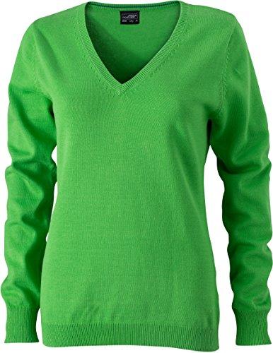 Ladies' V-Neck Pullover - taillierter Damen V-Neck Pullover M,Green