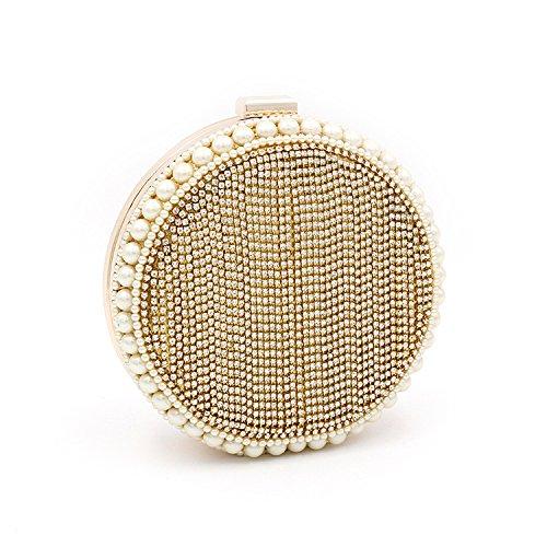 XIAOLONGY Abendtasche Diamond Runde Perle Tasche Hand Umhängetasche Abend Franse Tasche,Gold (Perlen Hand Tasche)
