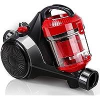 Aigostar Dino 30ICP - Aspirador ciclónico sin bolsa, 700 W de potencia, 2 tipos de cepillos incluídos, filtro HEPA, silencioso 76dB. Recogida automática de cable. Color rojo. [Clase A].