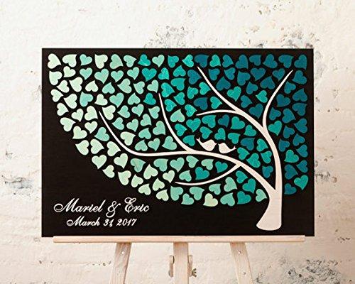 qidushop Custom Baum Hochzeit Gästebuch 3D Rustikal Holz Hochzeit Gästebuch für Braut und Bräutigam Hochzeit favros Hochzeitstag Geschenk Ideen 50x 60cm