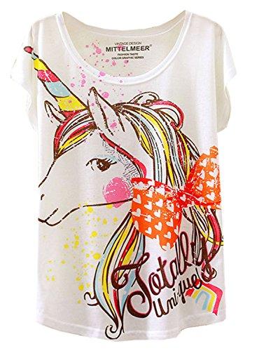 Damen Sommer Bunte Fliege Einhorn Print Kurzarm T-Shirt Tops XS/S Weiß