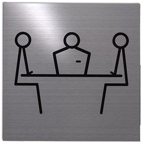 Xaptovi Placas de señalización PICTO: Sala De Reuniones   5 años de garantía  125x125mm   Fabricado en acero inoxidable de alta calidad   100% escudo autoadhesivo Sala De Reuniones