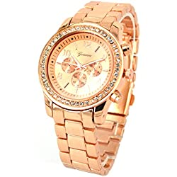 Bling Fashion Watch Rose Gold Jewellery Round Crystal