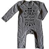 Mikalino Baby Schlafanzug Meine Oma ist Viel Cooler als Deine v2, Grösse:6-12 Monate, Farbe:Heather
