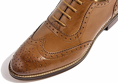 ... SimpleC Damen Leder Flat Vintage Brogue Oxfords Schuhe Comfy Office  Schuhe Braun-1 ...