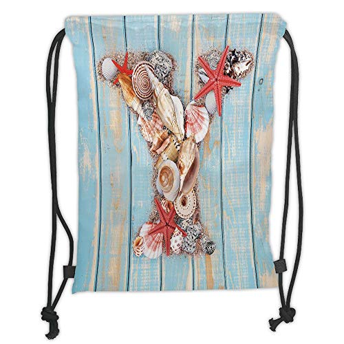 WTZYXS Drawstring Sack Backpacks Bags,Letter Y,Aquatic Typography with Y Blue Vertical Planks Starfishes Scallops Decorative,Pale Blue Ivory Dark Coral Soft Satin,5 Liter Capacity.