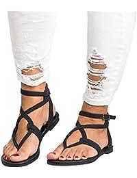 Reaso Femmes Sandales Tongs Chaussures d'été Chaussons Chaussures de Plage Mode Flip Flops Slippers Chaussures de Ville Été Talons Plats Compensées Tong Nylon Corde Mules et Sabots