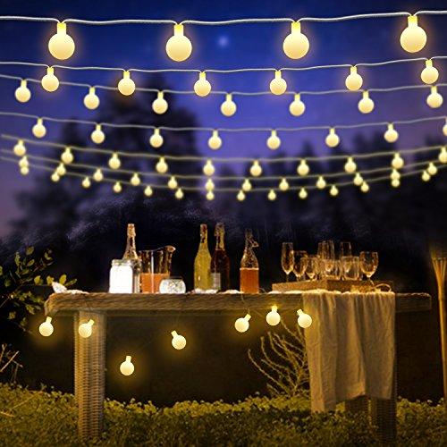 kette Innen, 7m 50LED Bälle Lichterkette Batterie, 8 Modi Fernbedienung Timer Wasserdicht Weihnachtsbeleuchtung für Weihnachtsbaum Außen,Innen,Garten,Party,Hochzeit(Warmweiß) ()