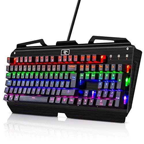 Tastatur Beleuchtet KingTop Mechanisches Gaming Keyboard 105 Tasten 9 LED Effekte , QWERTZ Layout