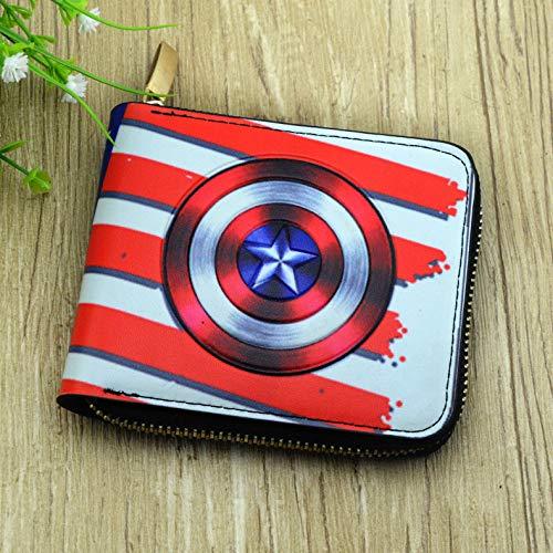 rse mit Geldklammer 3D-Druck Geldbeutel Männer und Frauen Geldtasche Persönlichkeit Portmonee RFID Kreditkartenetui Brieftasche Kartenetui Geldclip Captain America ()