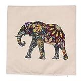 WADY Kissenbezug mit Blumenmuster, Elefantenmotiv, Baumwolle, Leinen, Sofakissenbezug, Kissen Nicht im Lieferumfang enthalten