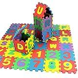 Feli546Bruce Teppich, 36 Stück, Alphanumerische Puzzleblöcke, Kinderspielzeug, Geschenk für Wohnzimmer, Schlafzimmer, Sofa, Boden, Kunstleder, einfarbig, Einheitsgröße