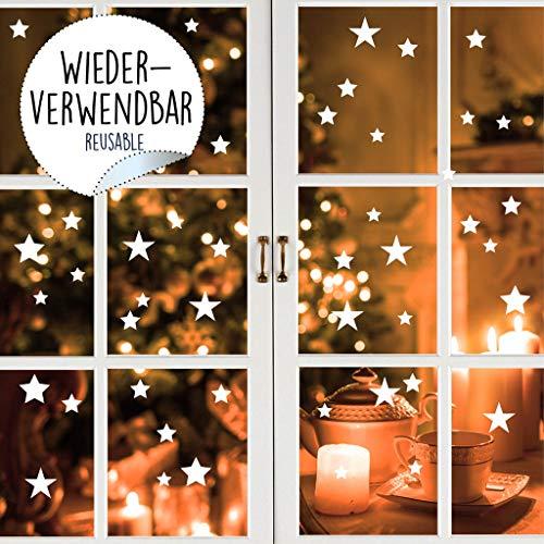 Wandtattoo Loft Fensterbild Weihnachten Sterne Wiederverwendbare winterliche Fensteraufkleber weiß Fensterdeko