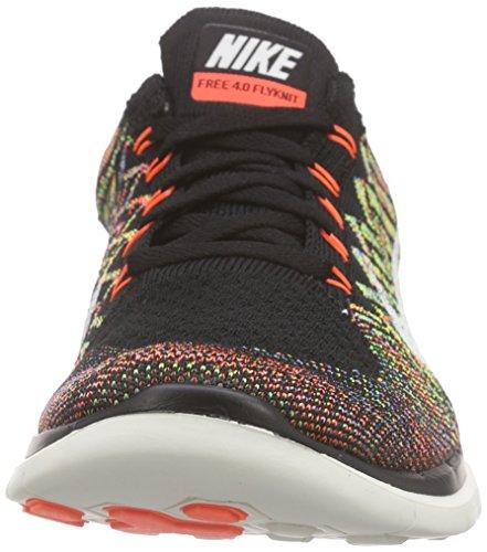 Nike Free 4.0 Flyknit, Chaussures de Running Compétition Homme Noir / Orange / Bleu / Blanc (Black / Sl-Hypr Orng-Unvrsty Bl)