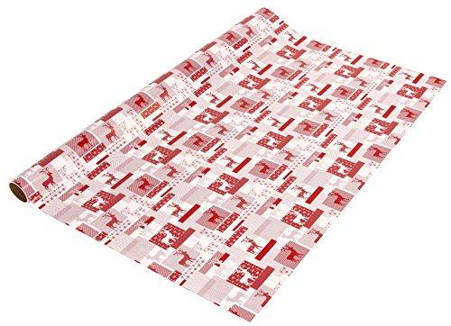 Sigel GP118 Weihnachts-Geschenkpapier rot/weiß, 1 Rolle 5m x 70 cm