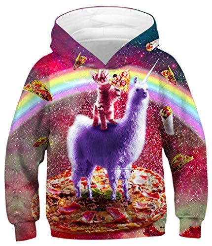 Ocean Plus Jungen Hoodie Tierdruck Kapuzenpulli mit Aufdruck Kapuzenpullover Kinder Sweatshirt Hooded Sweat (M (Körpergröße: 135-140cm), Blitzkatze und Laser Katze) - Kinder-erwachsenen-sweatshirt Mit Rundhalsausschnitt