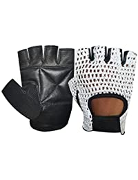 FINGERLESS NET GLOVES CYCLE BIKER GYM CYCLING DRIVING BODY BUILDING WEIGHT LIFTING BLACK WITH WHITE MESH 401