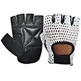 NET LEATHER FINGERLESS GLOVE GYM TRAINING BUS DRIVING CYCLING GLOVES BLACK LEATHER-WHITE MESH CN-401 LARGE