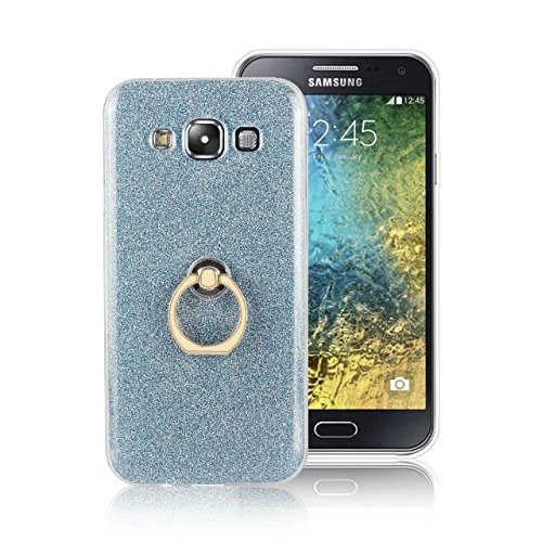 Luxus Bling Sparkle Style Case, Soft TPU [Silikon] Flexible Glitter Back Cover mit Fingerring Stand [Anti Scratch] [Shockproof] für Samsung Galaxy E5 ( Color : White ) Blue