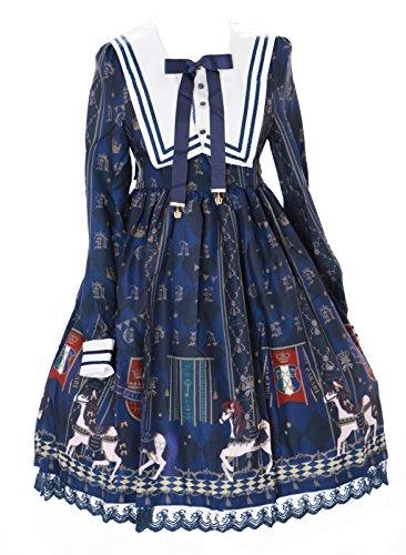fe4730b6f9 JSK-14-2 Dunkel-Blau Royal Pferd Karussel Pastel Gothic Lolita Kleid dress