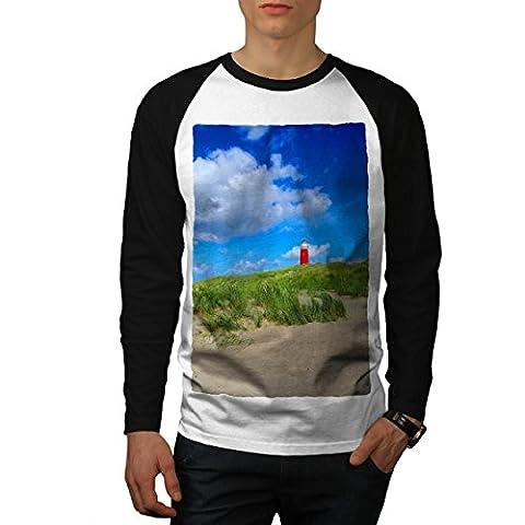 Ocean Light Tower Nature View Men NEW White (Black Sleeves) L Baseball LS T-shirt | Wellcoda