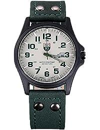 cab4caf45d02 relojes hombre vovotrade Vintage clásico cuero de los hombres a prueba de  agua de la correa de reloj del deporte…