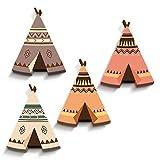 luvel® (M5) - Wandbild, Wandsticker, Wandtattoo, Kinderzimmer, Babyzimmer Deko - 10mm Kunststoff, 4er-Set bunte Indianerzelte Tipi 16 x 19 cm in 3D-EFFEKT