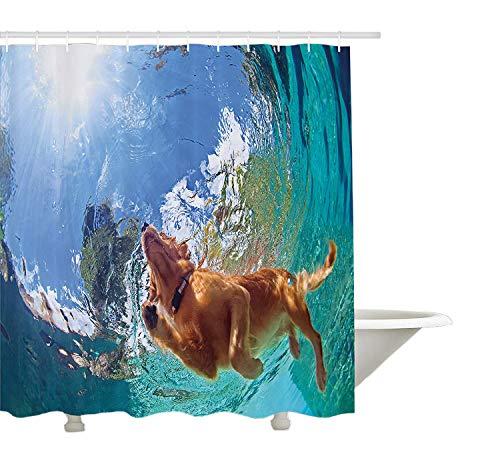 Yeuss Funny Vorhang für die Dusche von, Unterwasser Foto von LABRADOR RETRIEVER Puppy Schwimmen in Pool Happy, Stoff Badezimmer Decor Set mit Haken, Zimt türkis 152,4x 182,9cm, 66