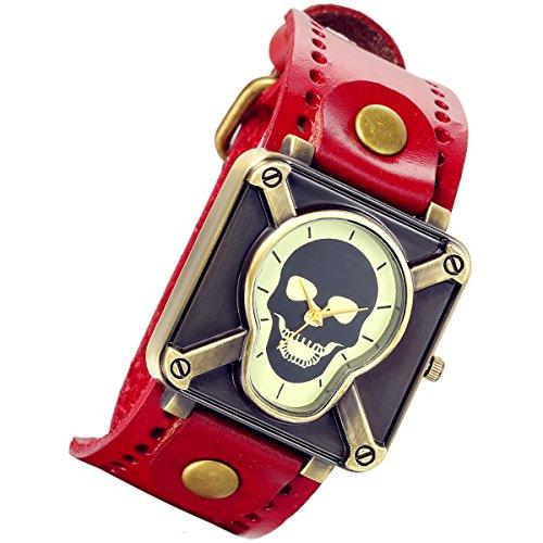 ren Damen Armbanduhr, Steam Punk Gothic Kruzifix Skull Schädel Totenkopf Uhr mit rot Leder Armband (Halloween Steam Sales)