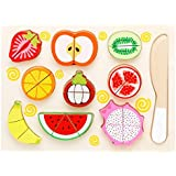 Wishkey Wooden 9 Pieces Magnetic Sliceable Fruit Cutting Game Kitchen Set Toy For Kids With Wooden Chopping Board And Knife