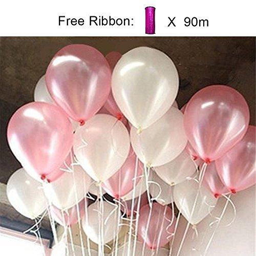 PuTwo Luftballons Rosa Weiß, 100 Stück 12 Zoll Luftballons Rosa Weiss Satz von Luftballons Rosa Pinke Luftballon und Luftballons Weiß, Latexballons für Deko Taufe, Hochzeitsdeko, Deko Geburtstag