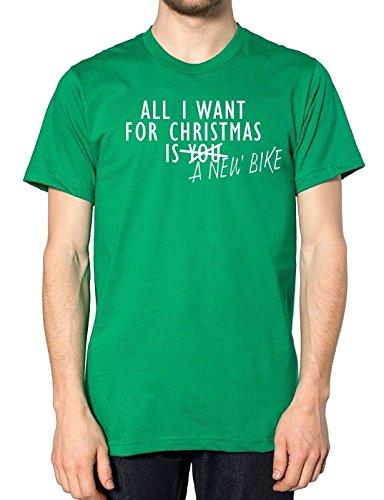 All I Want For Christmas ist eine neue Bike T Shirt Grün - Grün - Irish Green