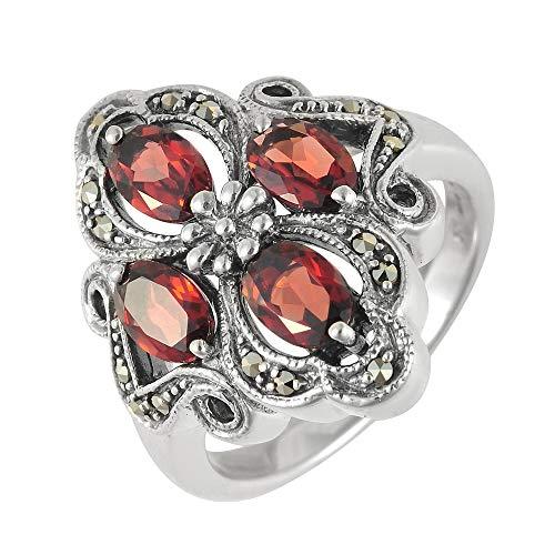 Esse Marcasite Ring Sterling-Silber 925 Granat Markasit Jugendstil Größe P