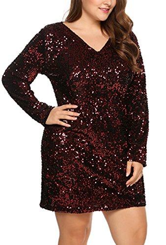 Busyall Damen langärmelig Abendkleid mit Pailletten V-Ausschnitt Partykleider Paillettenkleid...