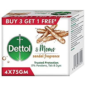 Dettol Sandal Bathing Soap Bar with Naturally Derived Ingredients, (Buy 3 Get 1 Free - 75g each), Combo Offer on Bath Soap