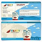 Einladungskarten zum Geburtstag (60 Stück) Kreuzfahrt Ticket Bordkarte