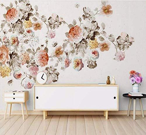 Rose Floral Wallpaper (Xcmb Vintage Handmalerei Rose Floral Wallpaper Murals Wandtattoos 3D Wallpaper Rolls Für Wohnzimmer Blume Tapete-120Cmx100Cm)