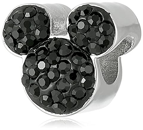 Disney Stainless Steel Mickey Black Crystal Bead Charm