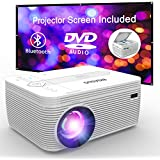 BIGASUO Bluetooth Mini Projector with DVD Player 4000 Lumens, Outdoor Movie Projector with Projection Screen Support 1080P Full HD, Compatible with iPhone, iPad, Laptop, TV Box, HDMI, VGA, SD, USB, AV