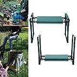 Ultrey Garten Kniebank Klappbar mit Schaumkissen Kniebänke für Gartenarbeit ca. 60 x 27 x 49cm mit Werkzeugtasche 250 lbs belastbar (Grün mit 1 Seitentasche)