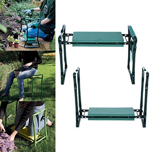 Flabor Klappbar Kniebank Garten Kniebänke mit 2 Werkzeugtaschen Kniestuh für Gartenarbeit Haus Gartenbank 60 x 27 x 49cm