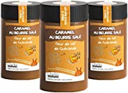 Lot de 3 pots Caramel beurre salé et Fleur de Sel de Guérande - 3x280 g