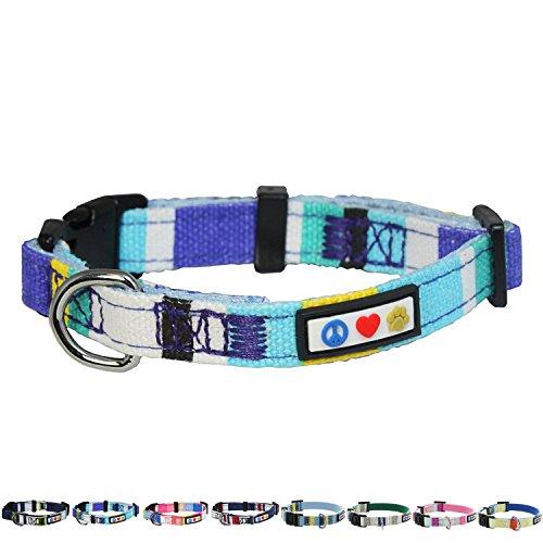 PAWTITAS mehrfarbiges Hunde-Halsband Welpen-Halsband Haustier-Halsband Trainings-Halsband klein Hunde-Halsband Blau/Türkis / Weiß/Gelb Hunde-Halsband -