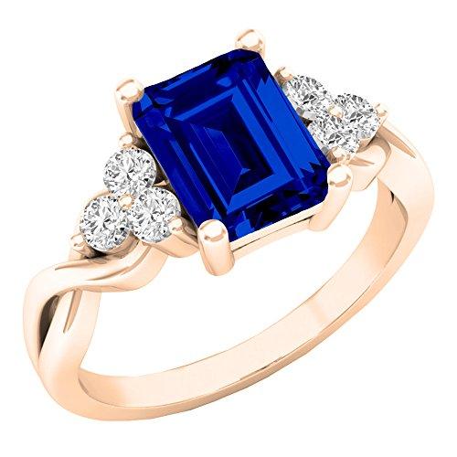 , 8x 6mm, Saphir, 14Karat Gold, Saphir, Ring Größe 7 (Saphir-ring 7 Größe)